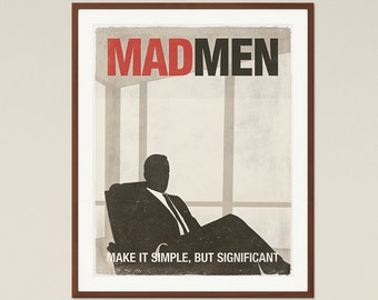 Mad Men; TV Show Inspired Poster, Don Draper, Mad Men Poster, Printable Poster, Minimalist Poster, Digital Download