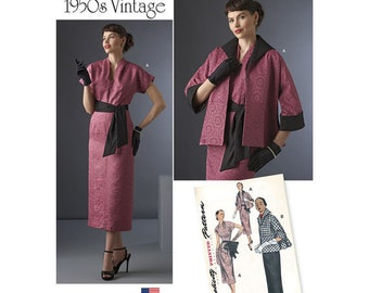 Simplicity 8245 Size 6-14 Vintage 1950s Dress, Sash, and Lined Jacket Sewing Pattern / UNCUT FF