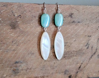 Beachy Mother-of-Pearl Dangle Earrings - Gifts for Her - Beach Jewelry - Shell Earrings - Unique Gifts - Mother's Day - Beach Wedding - Boho