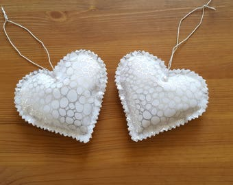 hand made 2 cushions for door decoration Christmas silver bubble heart