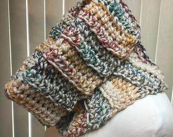Cowl, Rainbow, Turtleneck, Crochet Scarf, Chunky, Neck Warmer, OOAK, Handmade, Winter, Gift for Him, Gift for Her