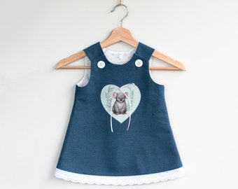 Australian baby clothes, Girls denim dress, Cute koala, Size 1, Pinafore Dress, Toddler dress, Toddler Clothes, Australian Sellers