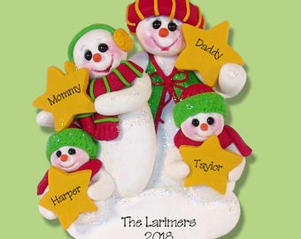 Snowman Family of 4 with Stars Handmade Polymer Clay Personalized Christmas Ornament - Limited Edition