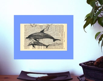 Nautical Decor | Coastal Decor | Beach decor | Wall decor | Dolphin Art Print | New Home | Shabby Chic | Book Art | Housewarming gift