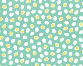 Farm Fun Fabric, #20537-17, Moda Fabric, Aqua Eggs,  Farm Fabric,  farm theme fabric