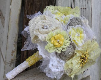 Yellow, Grey, and White Fabric Bouquet, Vintage, Brooch Bouquet, Burlap and Lace Bride's Bouquet, Wedding Flowers, Vintage Glam, Brooches