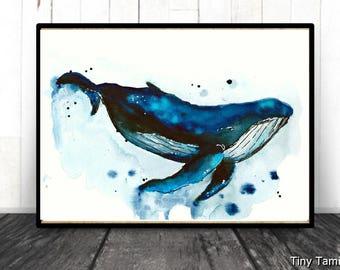 Humpback -  whale - print - watercolor