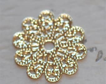 Set of 6 Brass Gold Filigree Lace Scalloped Flower piece 17mm connector