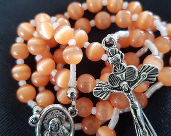 Rosary. Cat eye effect beads.