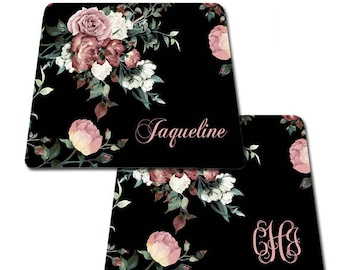 Vintage shabby chic roses monogrammed mousepad Personalized mouse pad custom mousepad with name monogrammed gift gifts fo her, coworker gift