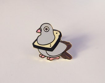 bread pigeon hard enamel pin
