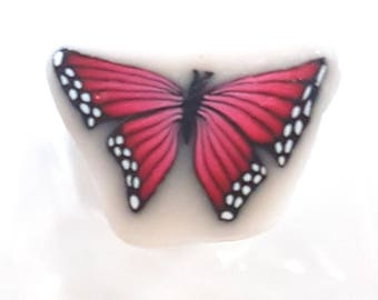 Red Butterfly Cane, Polymer Clay Cane, Red Flutterby, Translucent Clay, Raw or Unbaked Cane