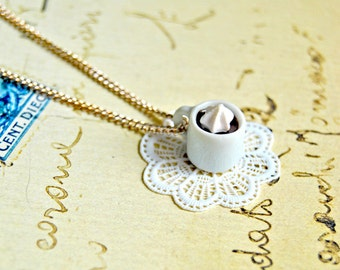Handmade miniature coffee and cream mug necklace - miniature food jewelry, coffee necklace, coffee jewelry