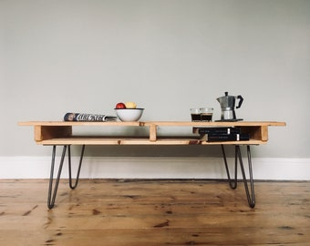 COFFEE TABLE. Hand made reclaimed wooden table with steel hairpin legs