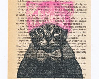 Cat in Pink Pussyhat - Resist Art on Old Dictionary Page, Hand Stamped Small Collage
