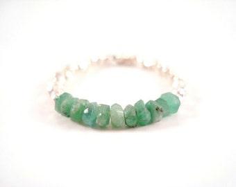 Natural Emerald Ring, Beaded Green Gemstone Ring, Genuine Emerald Ring, Sterling Silver Emerald Ring, Beaded Gemstone Stacking Ring