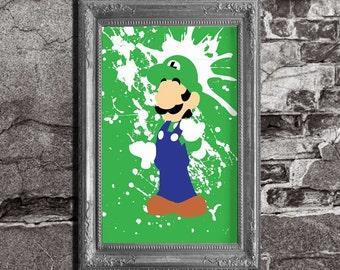 Super Mario Bros - Luigi Splatter - minimalist poster, video game print, wall art, nintendo, pixel art