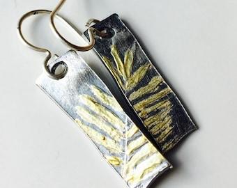 50% OFF PMC Earrings, Fine Silver Earrings, Fern Frond Earrings, 22 KG, Kiln Fired, Dangle Earrings, Flora and Fauna