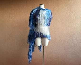 Extra wide blue scarf knit with white. Cotton Shawl Wrap. Very soft with fringe, by CricketsCreations Crickets Scarf