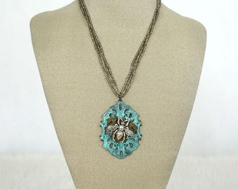 Turquoise Patina Bee Pendant Necklace on Beaded Chain, Turquoise Necklace, Boho Style, Boho Necklace, Bee Necklace, Handmade Necklace