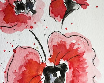 Watercolour Poppies, original not print art, flowers watercolour 12cm x 21cm