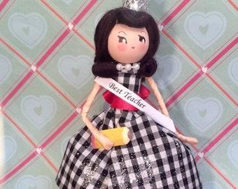 Best teacher doll ornament brunette doll vintage retro inspired teacher gift
