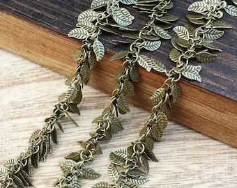 4x6mm Leaf Chain - .5 or 1 feet - Soldered Links - Antique Brass finish - Nickel Free