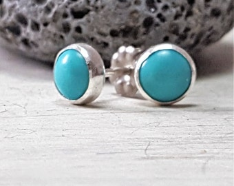 Turquoise Stud Earrings Sterling Silver Posts 6mm Round
