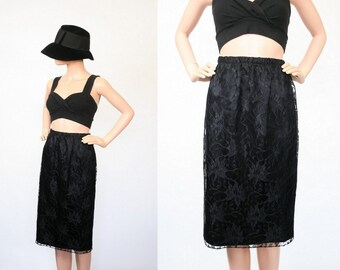 Vintage Lace Skirt / Black Skirt / Party Cocktail / High Waist Midi Skirt