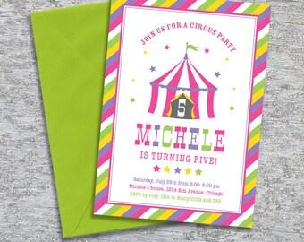 Circus Party Invitation – Big Top Pink – Printable Personalized (Digital File)