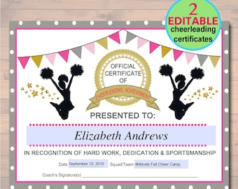 Sports certificate etsy editable cheerleader certificate instant download cheerleading award cheerleading printable sportsmanship award sports yadclub Image collections