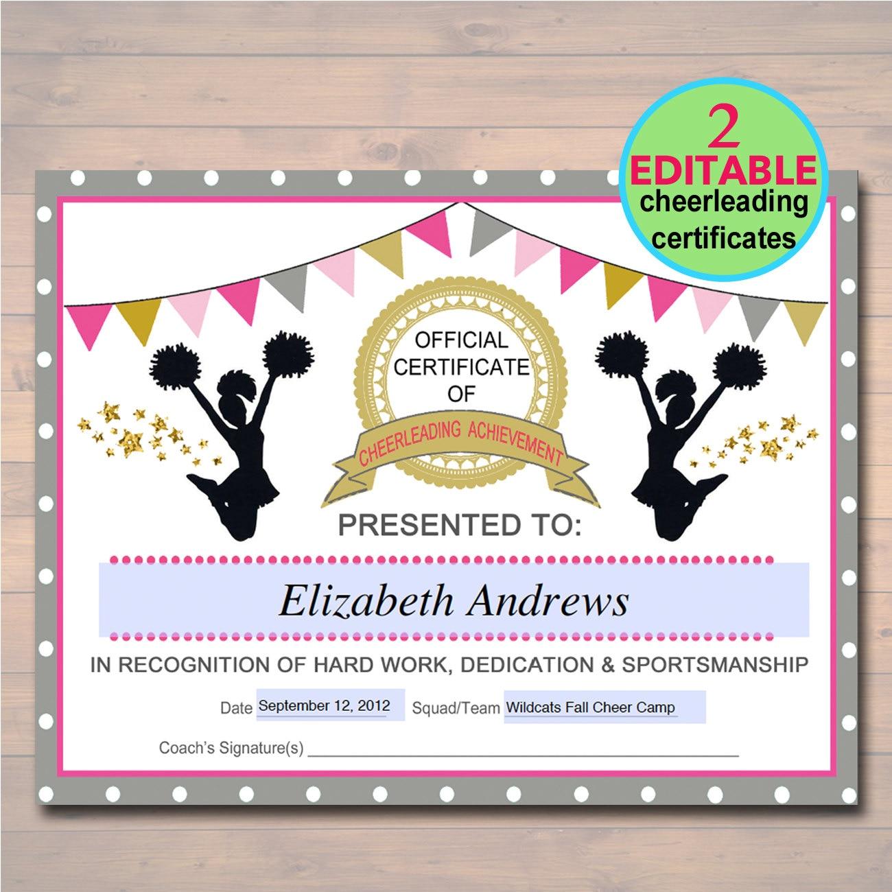Editable cheerleader certificate instant download zoom xflitez Gallery