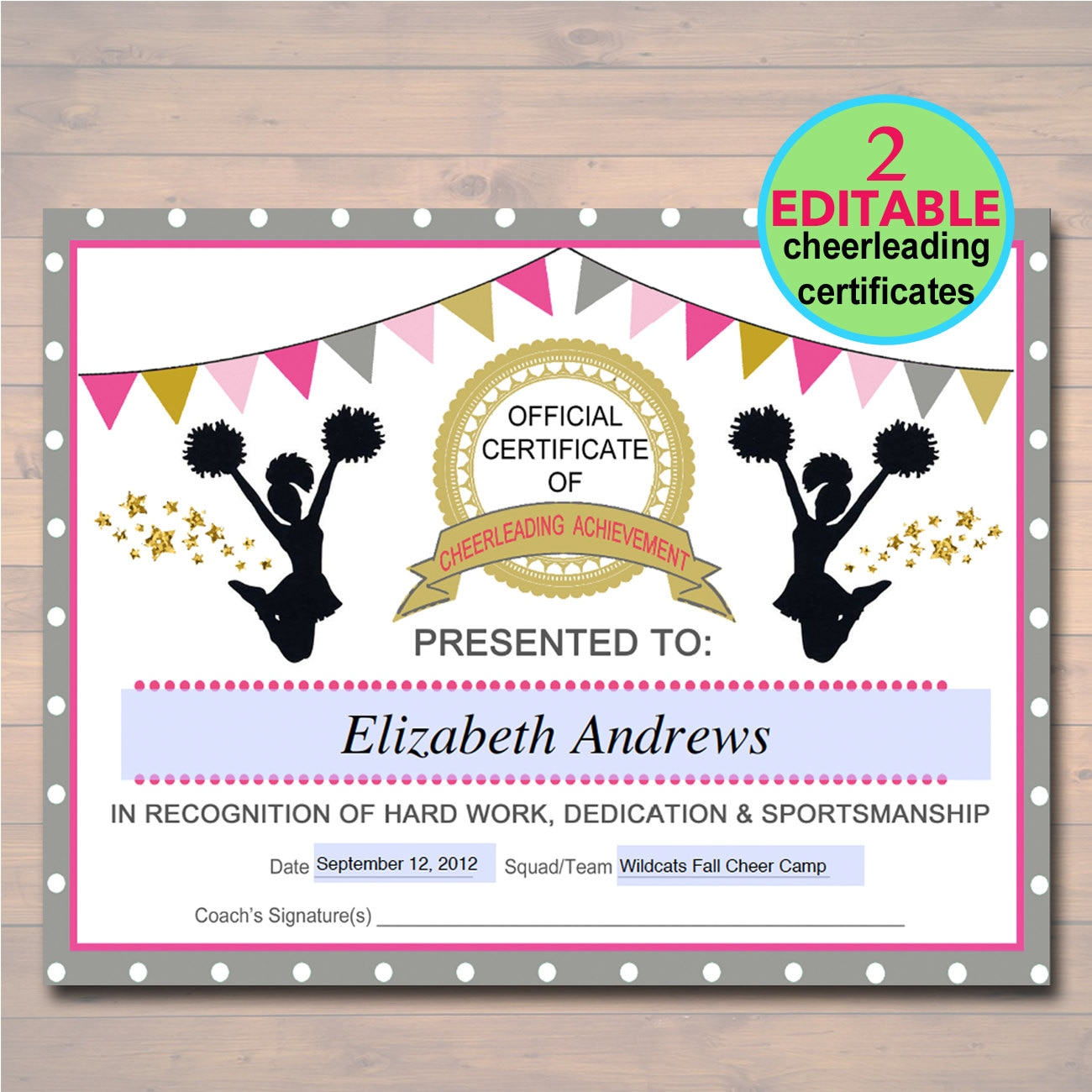cheerleading award certificate  EDITABLE Cheerleader Certificate INSTANT DOWNLOAD