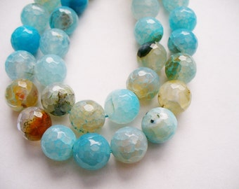Agate Beads Gemstone Faceted Blue Golden Brown Round 10MM