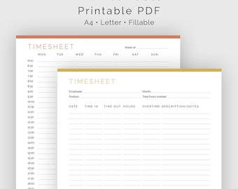Timesheet (2 layouts) - Fillable - Business Planner, Employee timesheet - Time Management - Printable PDF - 3 colours - Instant Download