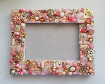 Pink and Gold 4x6 Inch Jeweled Picture Frame with Vintage Jewelry