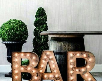 Lighted Sign Marquee 3pc Personalized Custom Metal Vintage Style Marquee.....Wedding, Engagement, Home