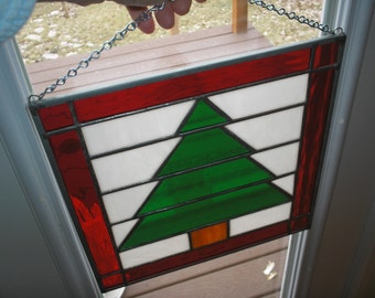 """December 12"""" X 12"""" Stained Glass Christmas Tree Quilt Block Pattern PDF B&W Digital Download"""