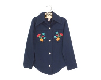 vintage kids shirt * 70s western shirt * floral embroidered blouse * vintage cowgirl shirt * size 7
