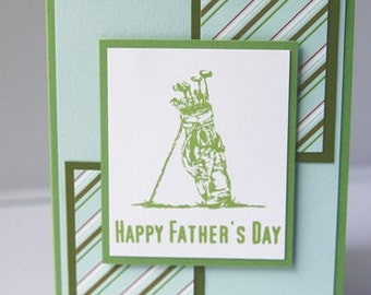 Happy Father's Day Golf Bag Hand Made Card, Love You Dad Note Card, Fathers Day Card