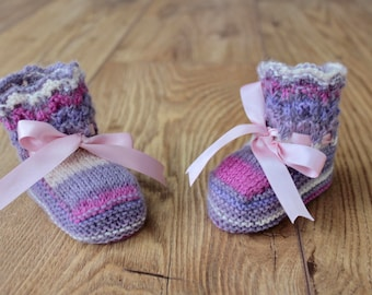 Lilac Baby Booties Colourful Booties Pretty Booties Wool Booties Purple Baby Booties Hand Knit Booties Baby Girl Booties New Baby Gift
