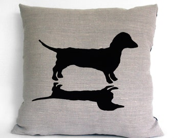 Dachshund and Shadow Silhouette Hand Screen Printed Pure Linen Cushion COVER