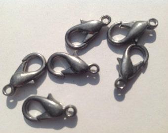 6 vintage silver clasps - great antique color - 16mm