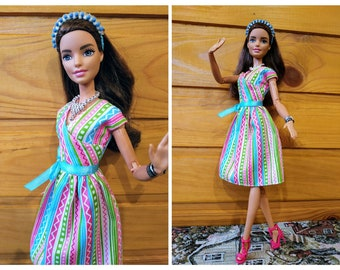 Barbie outfit, doll clothes - Short summer dress for Barbie dolls (M2M, Belly Button, regular Fashionista)