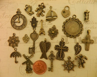CLEARANCE 23 charms assorted shapes and styles mixes antique bronze metal charms steampunk vintage retro style jewelry supply charm DIY