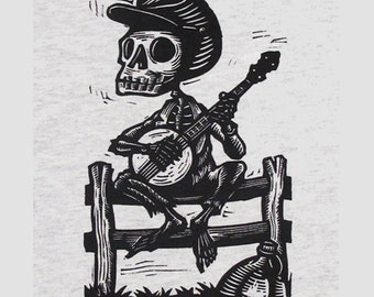Youth Size Skeleton Banjo Banjer Bones Tshirt L or XL