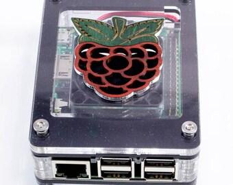 Zebra Black Ice Raspberry Inlay CASE WITH FAN~ for Raspberry Pi3B+, 3, Pi2 by C4Labs