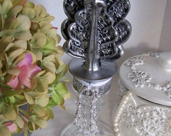 Silver and Pewter crystal finial