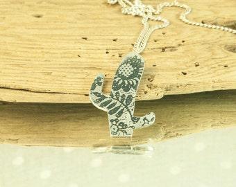 Cactus Necklace || Silver Cactus pendant || Sterling Cactus jewel || Lace Cactus Necklace || Silver Cactus Necklace || Cactus Lace Jewel ||