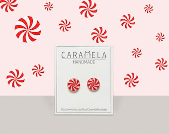Peppermint Candy Earrings Red & White Peppermint Sweet earrings Twist Earrings Cute Christmas Holiday Candy Round stud miniature food Gift